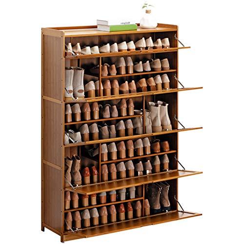 Jklt Práctico zapatero de bambú para almacenar zapatos, para entrar en el armario y el dormitorio, fácil de usar (color: café, tamaño: 100 x 33 x 145 cm)