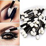 Gaddrt 50/100 Pcs Esponja Stick Eyeliner Stick Profesional Herramienta de Maquillaje Aplicador Sombra de Ojos Cepillo
