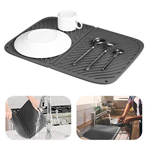 DEHUB Abtropffläche fur Küche, Extra Groß(43 cm x 31,5 cm) Abtropffläche, Abtropffläche Spüle, Abtropfgestell für Geschirr in Silikon, Abtropfmatte rutschfest und Spülmaschinenfest.