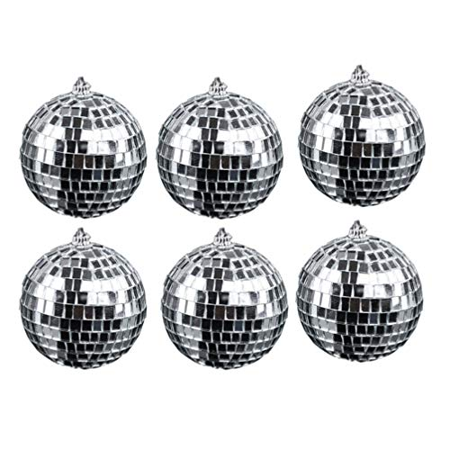 Amosfun 18 unids decoración del Partido Bola Bola de Cristal Bola de Espejo árbol de Navidad Boda cumpleaños Adornos de la Fiesta Bola Reflectante Espejo Bola de Discoteca Bola Colgante Partido 5 cm