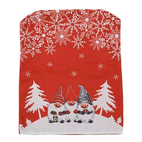 bgfh Weihnachtsstuhl Rückenabdeckung Dekorativer Esszimmerstuhl Schonbezug Cartoon Rote und graue Stuhlabdeckung ChristmasDecoration Home