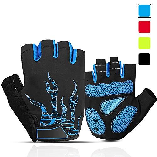 ACTINPUT Fahrradhandschuhe Halbfinger Herren Damen Gel Stoßdämpfung Fitness Handschuhe Atmungsaktiv Anti-Rutsch Radhandschuhe (Blau, XL)