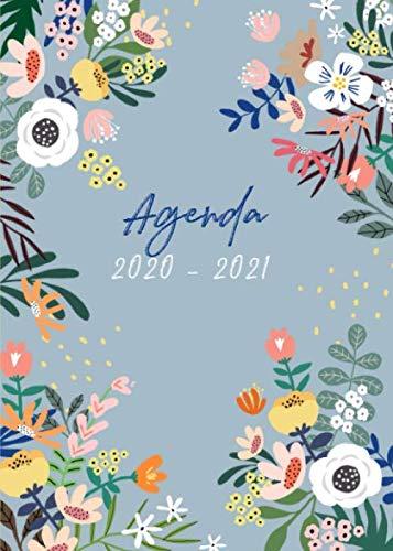 Agenda 2020 2021: 1 Semaine sur 2 Pages - Agenda 2020 2021 fleur - Format A5 - juillet 2020 à décembre 2021 - planificateur, semainier simple & graphique