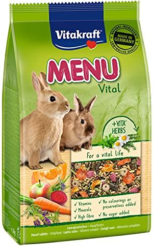 Vitakraft - Menú Premium Vital para Conejos con Cereales, Manzanas y Verduras, Alimento Principal - 3 kg ⭐