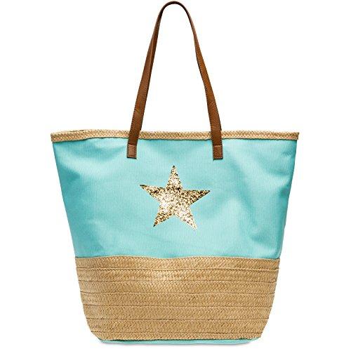 Caspar TS1041 große XXL Strandtasche mit Bast Dekor und Glitzer Stern, Farbe:türkis, Größe:One Size