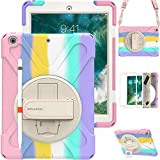 """BRAECN iPad Case 6th 5th Generation for Kids, iPad 6th / 5th Gen Case, Rugged Kids Friendly Case with Pencil Holder, Shoulder Strap, Hand Strap, Kickstand for Apple iPad 9.7"""" 2018/2017 -Light Rainbow"""