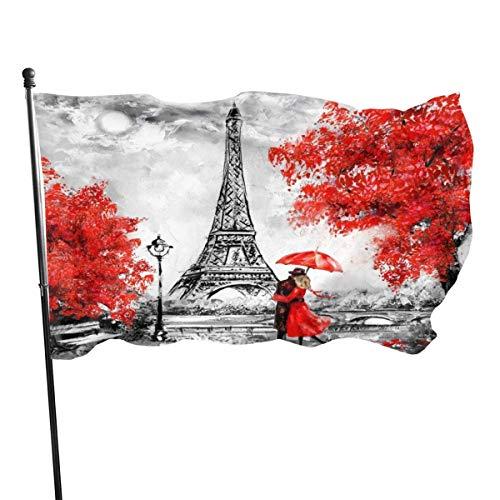 Jacklee Red Maple Leaf LoveCouples Toren van Parijs Tuinvlaggen Decoratieve vlaggen Premium Officiële Vlag met Grommets Polyester Deluxe Outdoor Banner 2020 voor Alle seizoenen en vakanties- 3X 5 Ft