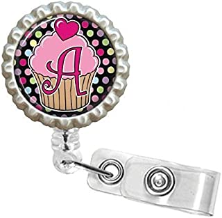 Bottlecap Initial Badge Reel You Choose the Letter Cupcake Design