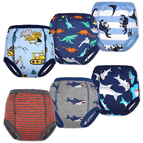Flyish Packung mit 6 Baby Trainingshosen Töpfchen Unterwäsche Kleinkinder Windelhosen Toilettentraining Unterwäsche Entzückende Tiermuster Trainingshose Jungen 3 Jahre
