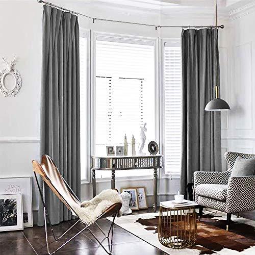 TOPICK Samt Flanell Velvet Vorhang in Edler Samtoptik Schlafzimmer Gardine Dekoschal mit Stangendurchzug, Starke Beschattungsfähigkeit, 241cm x 132 cm(H x B), 1er-Set, in der Farbe Grau