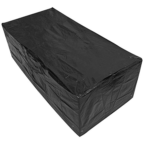 Woodside Black Large Rectangle Outdoor Garden Table Cover 2.05m x 1.04m x 0.71m/6.7ft x 3.4ft x 2.3ft