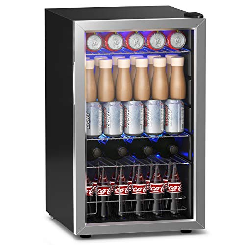 JF World 76 Can Beverage Refrigerator Cooler with Glass Door