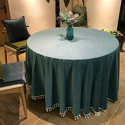 Creek Ywh tafelkleed, tafelloper, partytafelkleed, rond, groot rond tafelkleed, effen hotel, tafelkleed, rok, blauw, groen, tafelkleed met franjes, suède, grenen blauw, ronde tafel