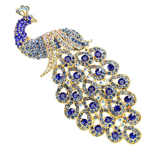 KESYOO Diamantes de Imitación Pavo Real Broche Pin Cristal Austriaco Pájaro Amapola Arte Retro Insignias Traje Collar Camisa Bolsas Decoración para Mujer Mujer Dama (Azul)