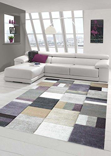 Traum Alfombra Sala de Estar Moderno Estampado a Cuadros en Gris púrpura Beige 200x290 cm