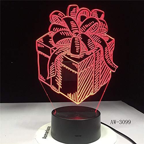Nur 1 Stück Geschenkbox LED Nachtlampe Urlaub 3D Illusion Touch Sensor Hoom Dekoration Kind Kinder Baby Nachtlicht Geschenkbox Schreibtischlampe