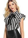 SheIn Women's Casual Bow Tie Neck Short Sleeve Ruffle Stripe Blouse Workwear Top Large Black