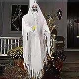 Esqueleto de Halloween, decoraciones de Halloween Ghost, con ojos rojos, Animatronics de Halloween, con sensor activado por voz, accesorios de esqueleto de miedo para la pared de la ventana y la decor