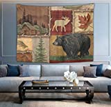 NiYoung Fashion Multi-Purpose Tapestry Wall Tapestry Wall Hanging Tapestries with Rustic Lodge Bear Moose for Living Room Bedroom Dorm Home Decor, 50 x 60 Inches