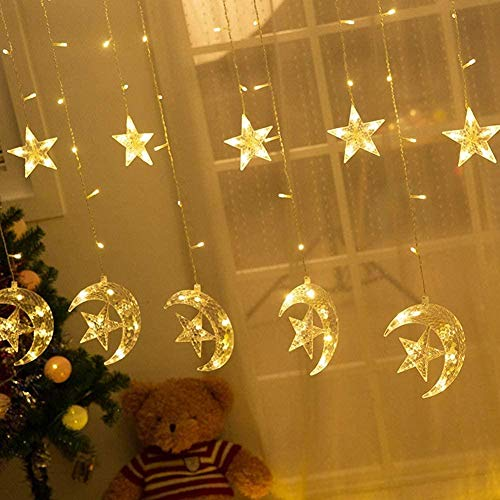 126 LED Star Moon Curtain String Lights, Window Curtain Lights with 8 Flashing Modes Ramadan Decoration Christmas Wedding, Party, Home, Patio Lawn Decorations, Warm White