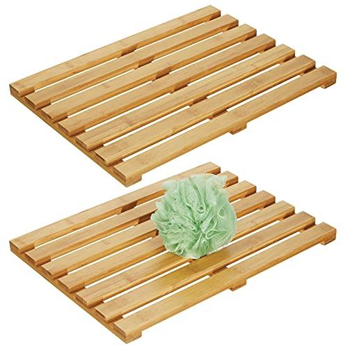 mDesign Juego de 2 alfombras de bambú – Alfombrilla de baño rectangular...