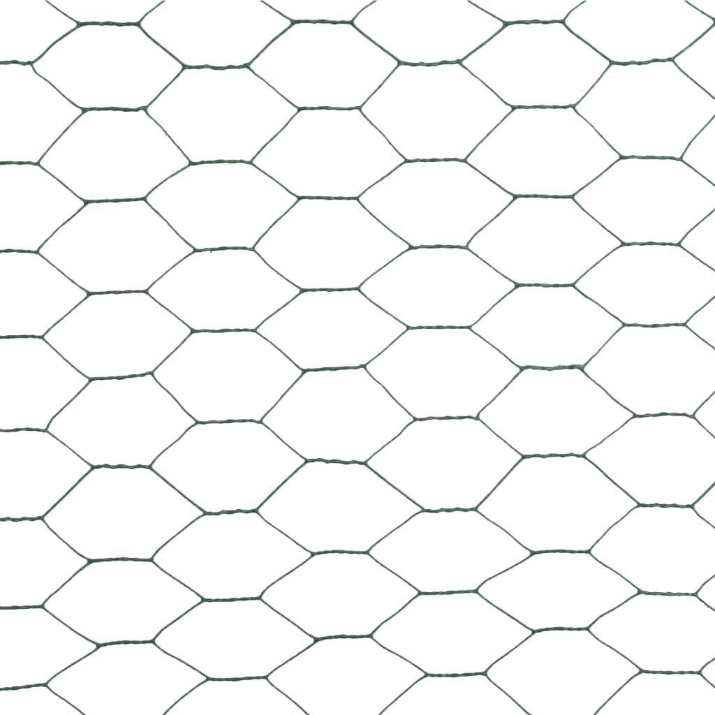 yorten Maschendrahtzaun mit PVC-Beschichtung Hundezaun Katzenzaun H/ühnerzaun Sechseckige Maschen 25 x 1,5 m L x H Gr/ün Maschenweite 36 mm