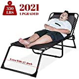 Oversize Sunbathing Chair Reclining Lounge Chaise Support 350lbs Folding Lightweight Outdoor Sun Lounger Perfect for Beach Poolside Lawn (Black)