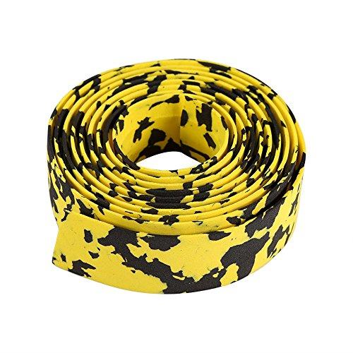 2Pcs Fahrrad Lenkerband Lenker Wraps mit Endkappen Multicolor Handlebar Tape ( Farbe : Yellow+Black )