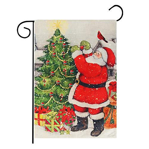 Roberly Santa Claus Christmas Garden Flag, Double Sided Winter Garden Flag Christmas Flag for New Year Garden Yard Decor Outdoor Christmas Decorations (12.5' x 18')