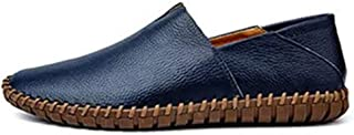 Shhdd Simple and classic drive loafers male fashion casual shoes, slip-on flat non-slip round toe was leather stitching lightweight and thin (Color : Blue, Size : 43 EU)