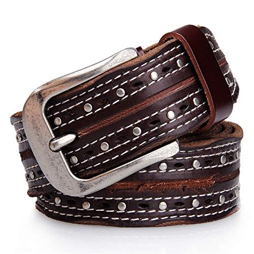 NEHARO Cinturón Punk Ajustable Punky del Cuero de Gamuza de Cuero del Remache Cosido Cinturón de Hombres Mujeres y Hombres (Size : 110cm)