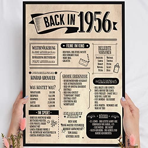 Holzbild: Alte Zeitung - Geschenk 65 Geburtstag Back in 1956 Vintage - personalisierbar zum Hinstellen/Aufhängen optional beleuchtet, 65 Geburtstag Frau - Wand-Bild Aufsteller - persönliches Geschenk