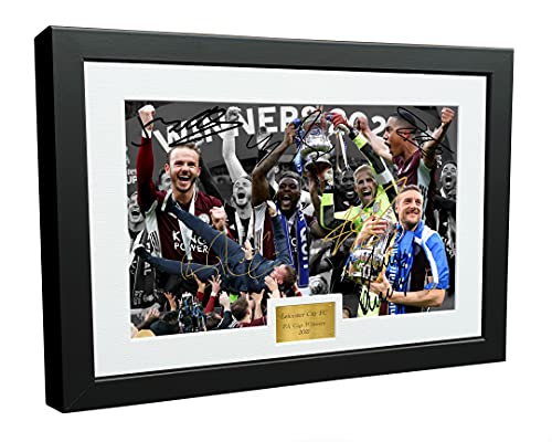 12x8 A4 '2021 FA CUP WINNERS' Brendan Rodgers James Maddison Jamie Vardy Youri Tielemans Kasper Schmeichel Wes Morgan Leicester City FC Signed Autographed Photo Photograph Picture Frame Poster Gift