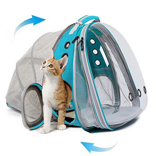 halinfer Expandable Front and Back Cat Backpack Carrier, Dual Expandable Space Capsule Transparent Clear Bubble Pet Carrier for Small Dog, Pet Carrying Hiking Traveling Backpack (Green)