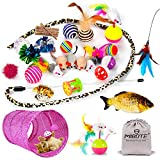 Mibote 30 Pcs Cat Toys Kitten Toys Assorted, Cat Tunnel Catnip Fish Feather Teaser Wand Fish Fluffy Mouse Mice Balls and Bells Toys for Cat Puppy Kitty with Storage Bag