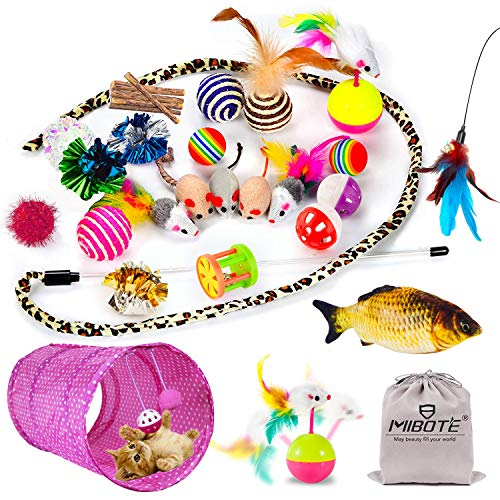 28 Pcs Cat Toys Kitten Toys Assorted, Cat Tunnel Catnip Fish Feather Teaser Wand Fish Fluffy Mouse Mice Balls and Bells Toys for Cat Puppy Kitty with Storage Bag