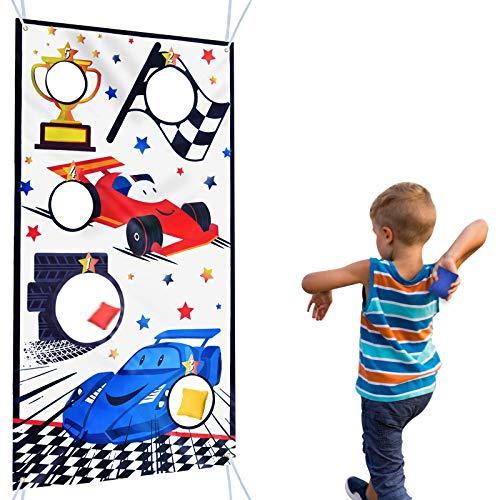 Toss Game Banner con 3 Bean Bags - Suministros para Fiestas de Autos de Carrera para Niños Decoraciones para Fiestas de Cumpleaños Juegos de Lanzamiento al aire Libre Bolsas de Frijoles, 140 x 76cm