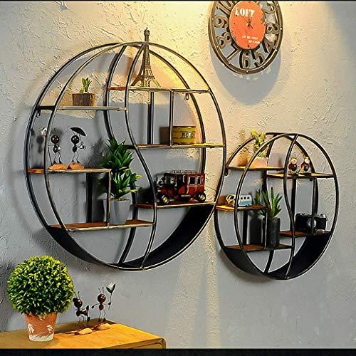 XXY.XXY Massivholz Pflanzenständer Wandbehang Rack Wohnzimmer Runde Bücherregal Schwarz Durchmesser 60 cm/Durchmesser 80 cm Pflanzenständer (Größe: 60 & Times; 12,5 cm)