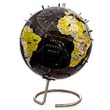Bullseye Office - Magnetic World Globe (Lacquer Finish) - 10' Black Magnetic Standing World Globe with Magnetic Pins - Perfect as Office Desk Globe, Classroom Globe, or Travelers Globe (Black)