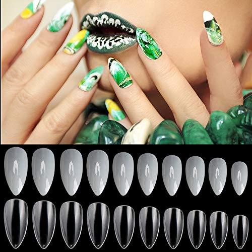 Noverlife Künstliche Fingernägel, 10 Größen, klar und natürlich, Maniküre, Acryl, UV-Gel-Nagellack, künstliche Fingernägel für Salon und DIY-Nageldesign, 1200 Stück