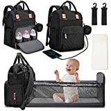 Diaper Bag Backpack with Changing Station Portable Baby Bag Foldable Baby Bed Back Pack Travel Waterproof Large Capacity Travel Bag with USB, Stroller Straps, Insulated Pockets, Gift for Mom Dad Black