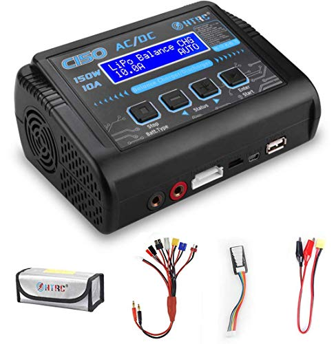 Lipo Battery Charger, RC Balance Charger Discharge 150W 10A AC/DC for Li-Po Li-Hv Li-Ion Li-Fe NiMH Ni-Cd Pb LCD Hobby Battery Charger with Deans/Tamiya/JST/EC3/HiTec Connectors Cable Power Supply