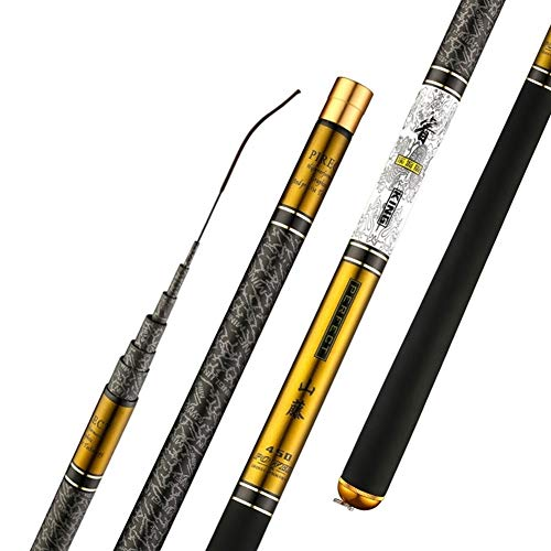 NGHSDO Canna da Pesca Fissa Pesca telescopica in Fibra di Carbonio di Alta qualità Rod 3.6m-10m Ultra Light Disco Viaggi Carp Fishing Canna da Pesca (Color : Yellow, Size : 8m)