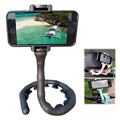 ZLion Cell Phone Holder - Flexible & Twistable Phone/iPhone Holder with Suction Cups - Universal Gooseneck Cellphone Clamp - Lazy Cellphone Stand for Car, Bike Handlebar, Bed, Mirror (Black)