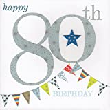 Claire Giles Sherbet Sundaes 80th Birthday Card - Blue
