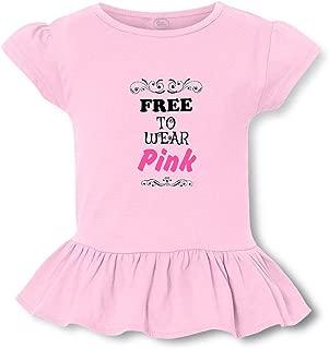 Free to Wear Pink Short Sleeve Toddler Cotton Girly T-Shirt Tee