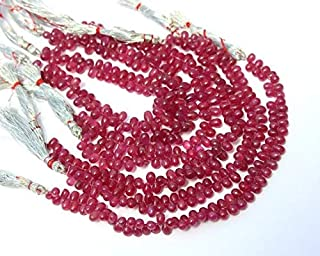 Jewel Beads Natural Beautiful jewellery Natural Ruby Smooth Teardrop Briolettes Size 4x3-8x5mm 3.85 Inches Strand.Code:- BB-15354