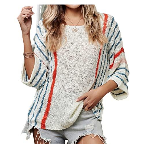 Suéter de Cuello Redondo para Mujer, Suelto, de Gran tamaño, a la Moda, a Rayas, Color a Juego, Tendencia, Todo fósforo, Informal, con Manga de Siete Puntos, Top S