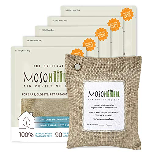 MOSO NATURAL: The Original Air Purifying Bag 200g (5 Pack) for Cars, Closets, Bathrooms, Pet Areas. an Unscented, Chemical-Free Odor Eliminator (Beige Linen)