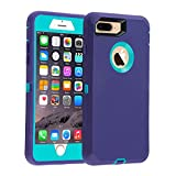 Co-Goldguard Case for iPhone 7 Plus/8 Plus Heavy Duty 3 in 1 Built-in Screen Protector Durable Cover Dust-Proof Shockproof Scratch-Resistant Shell Compatible with iPhone 7+/8+ 5.5,Light Purple&Blue